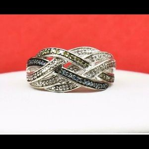 .42ctw Blue, Green & H-SI diamond SS ring